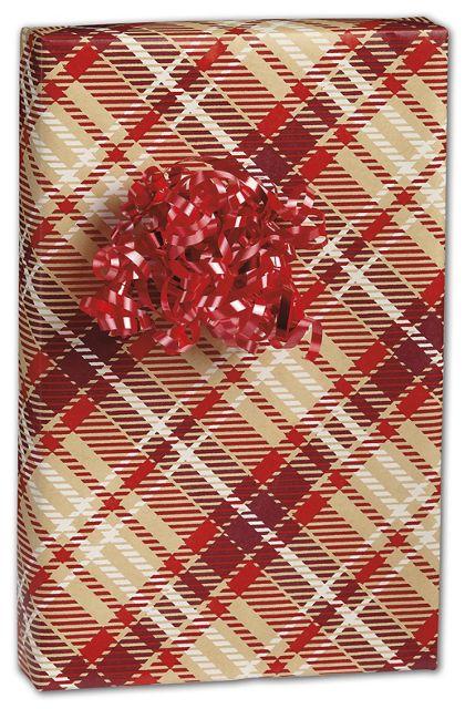 "Just Plaid Kraft Gift Wrap, 24"" x 100'"