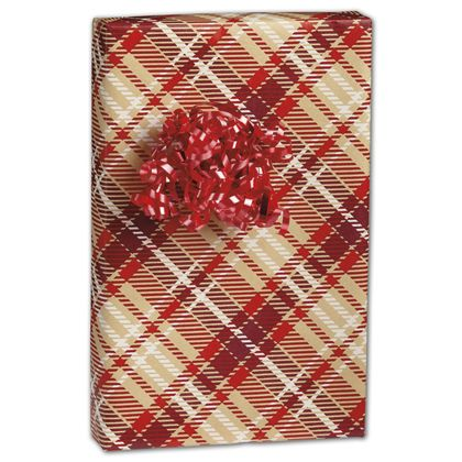 "Just Plaid Kraft Gift Wrap, 24"" x 100'"
