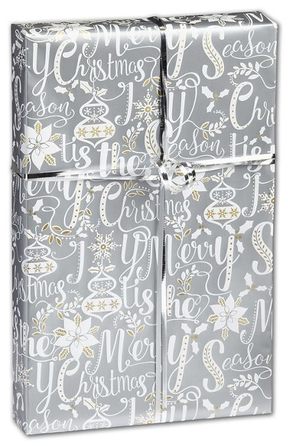 "Scripted Holiday Gift Wrap, 24"" x 417'"