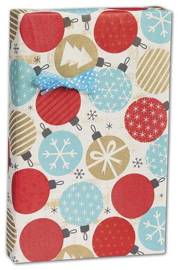 Twinkling Ornaments Kraft Gift Wrap, 24