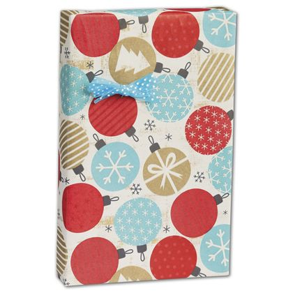 "Twinkling Ornaments Kraft Gift Wrap, 24"" x 417'"