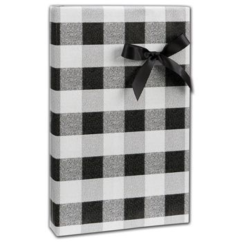 "Black & White Buffalo Plaid Gift Wrap, 24"" x 100'"