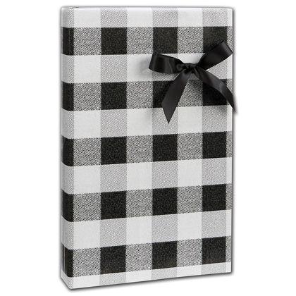 "Black & White Buffalo Plaid Gift Wrap, 24"" x 100'"