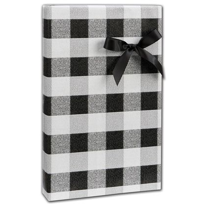 "Black & White Buffalo Plaid Gift Wrap, 24"" x 417'"