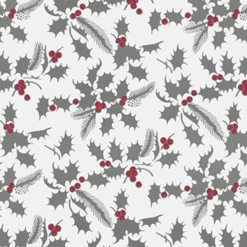 White Holly Metallized Gift Wrap, 24