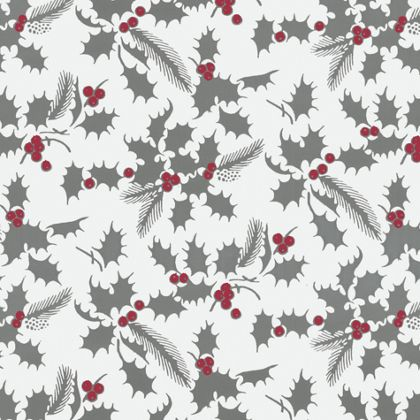 "White Holly Metallized Gift Wrap, 24"" x 100'"