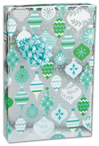 "Blue Baubles Gift Wrap, 24"" x 100'"