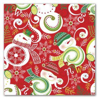 Swirling Snowman Gift Wrap, 5' x 30