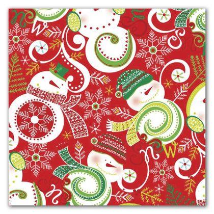 """Swirling Snowman Gift Wrap, 5' x 30"""""""