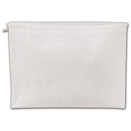 "White Laminated Non-Woven Zipper Pouches, 8 x 2 x 6"""
