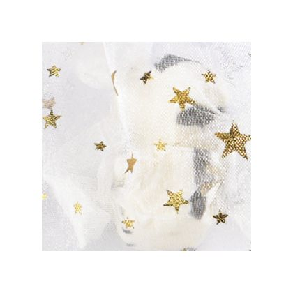 Gold Stars on White color swatch