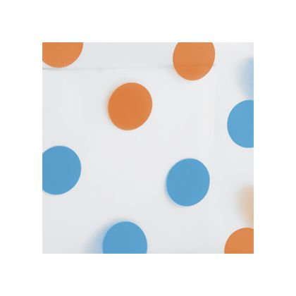 Orange & Turquoise Dots Frosted color swatch