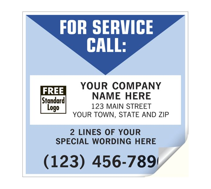 CL10-For Service Call Labels, Vinyl, White/BlueCL10