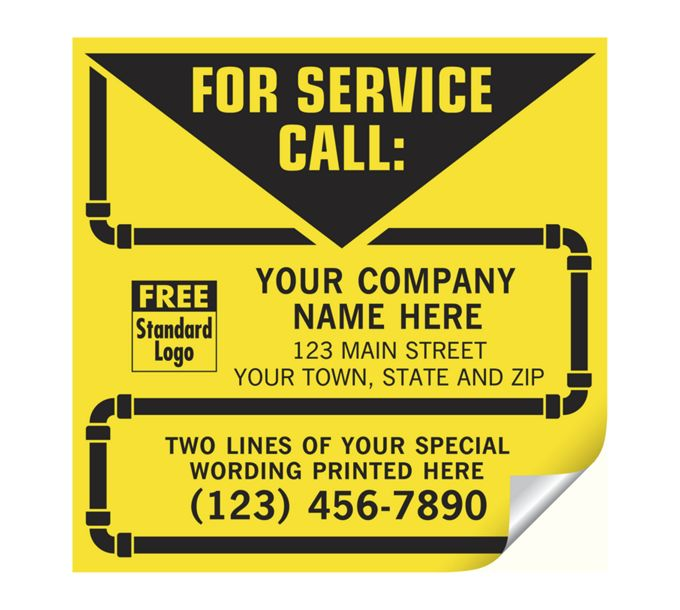 CL14-Contractor Service Labels, with Pipe Border, VinylCL14