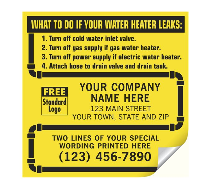 CL15-Water Heater Service Labels, with Pipe Border, VinylCL15
