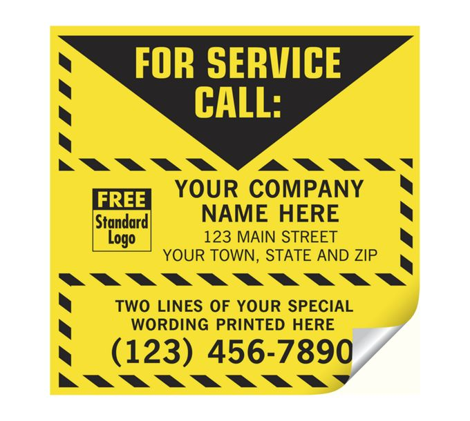 CL16-For Service Call Label, Yellow with Safety Border, VinylCL16