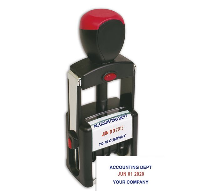 D143-Self-Inking Metal Dater Stamp - Two ColorD143