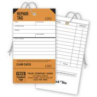Repair Tags, Service, Orange, Detachable Claim Check