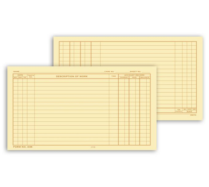 Dental Continuation Form for Folder-Style RecordsD38