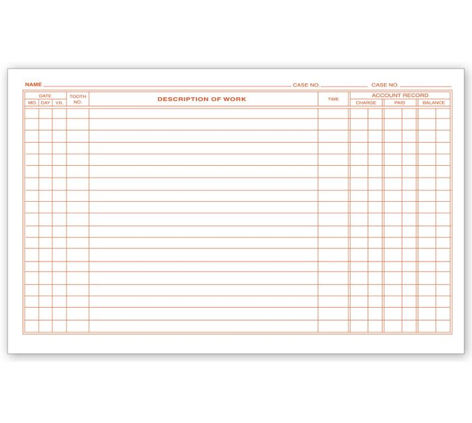 D58-Dental Continuation Exam Records, 2 Sided, Card StyleD58