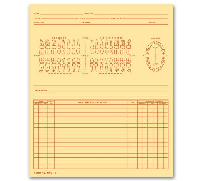 D90C-Dental Exam Record, Numbered Teeth System C, Folder StyleD90C