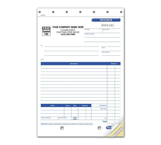 GEN0255-Work Order Invoice, CarbonlessGEN0255