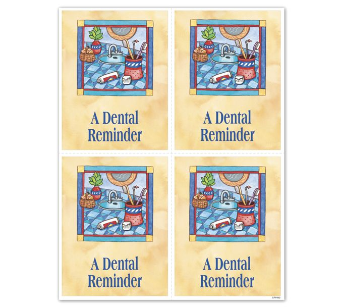 LRP993-Exp Laser Recall Postcard-Dental (Sink)LRP993
