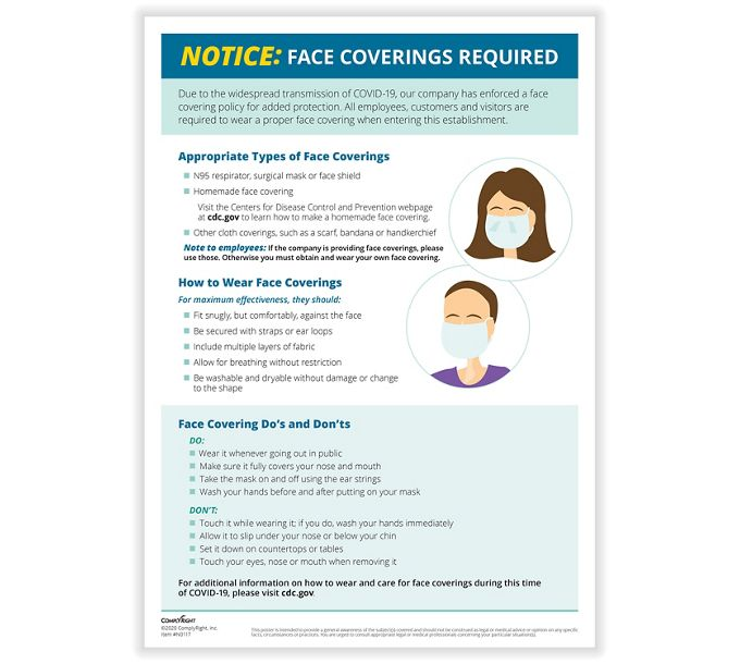 Face Coverings Required Notice PosterN0117