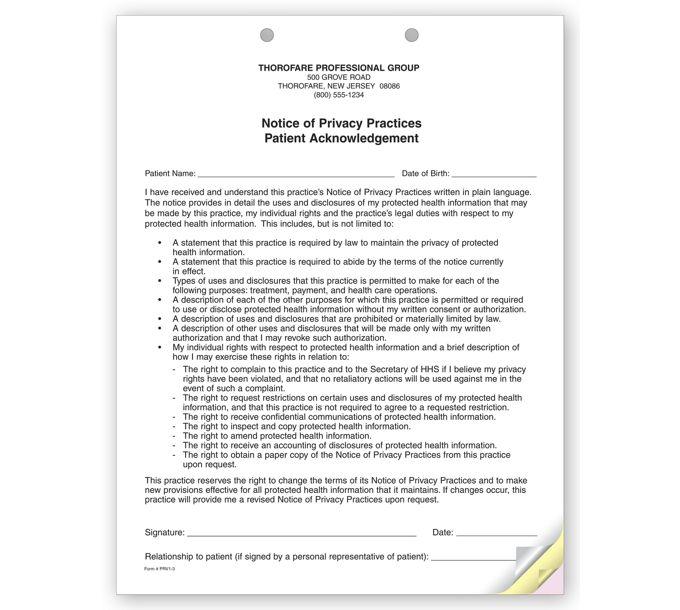 PRV1-3-Part Notice of Privacy Practices HIPAA AcknowledgmentPRV1