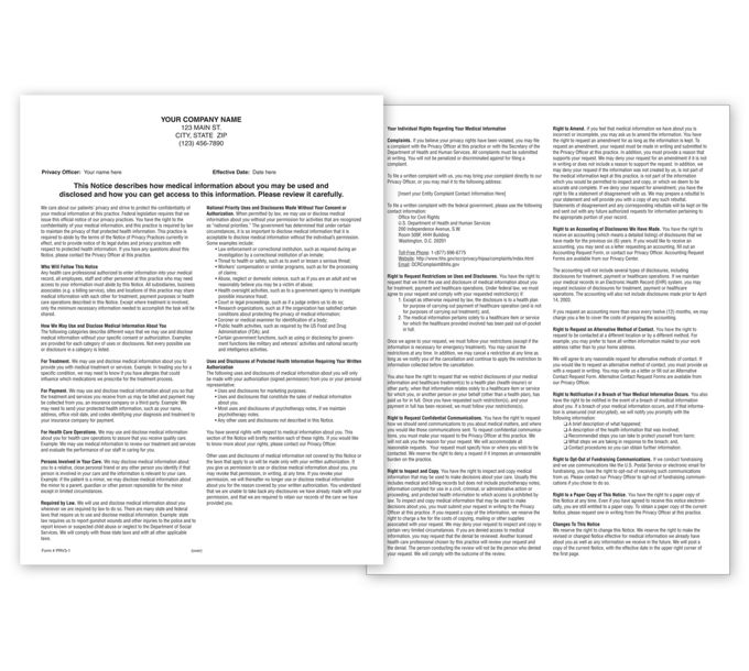 PRV3-Notice of Privacy Practices HIPAA Form, Padded, PersonalizedPRV3
