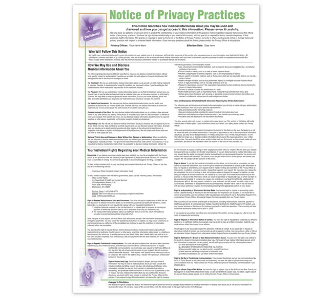 PRV4-Notice of Privacy Practices HIPAA Poster, PersonalizedPRV4