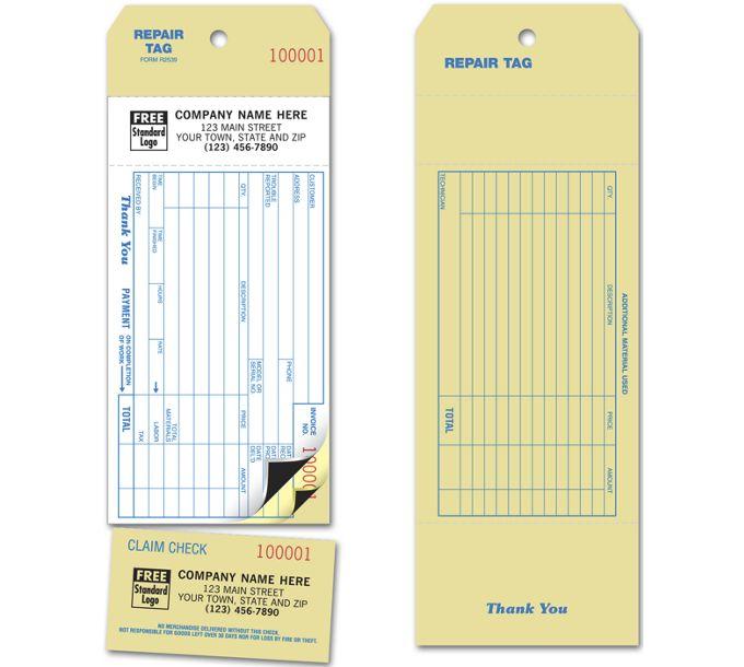 Invoice Repair TagR2539