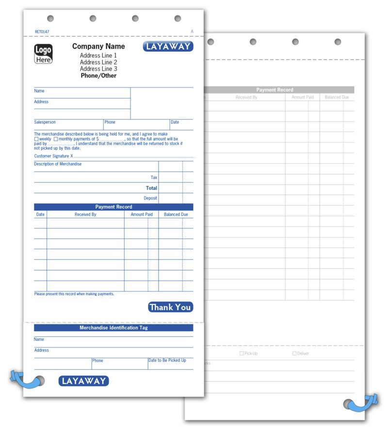 Layaway Forms 4 1 4 X 8 1 2 Set Business Forms Deluxe Com