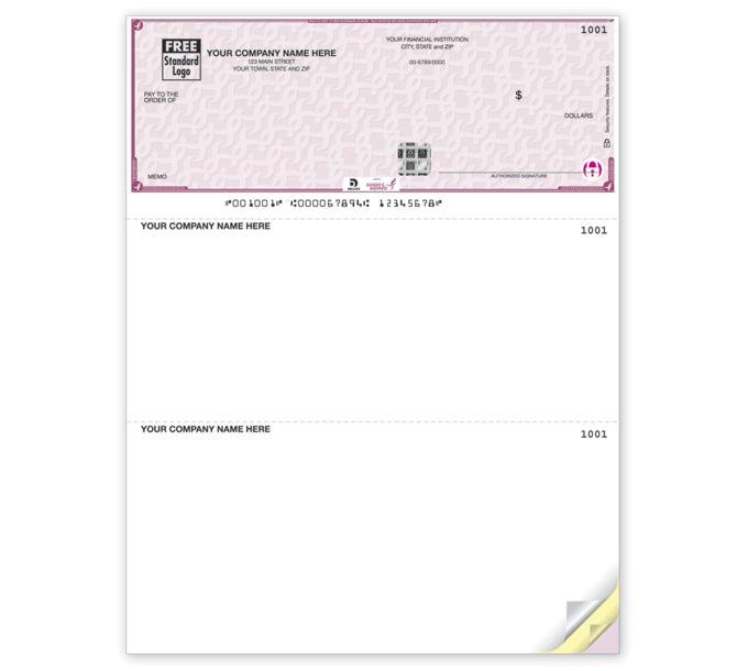 SKLT104-Deluxe High Security Susan G. Komen Laser Top CheckSKLT104