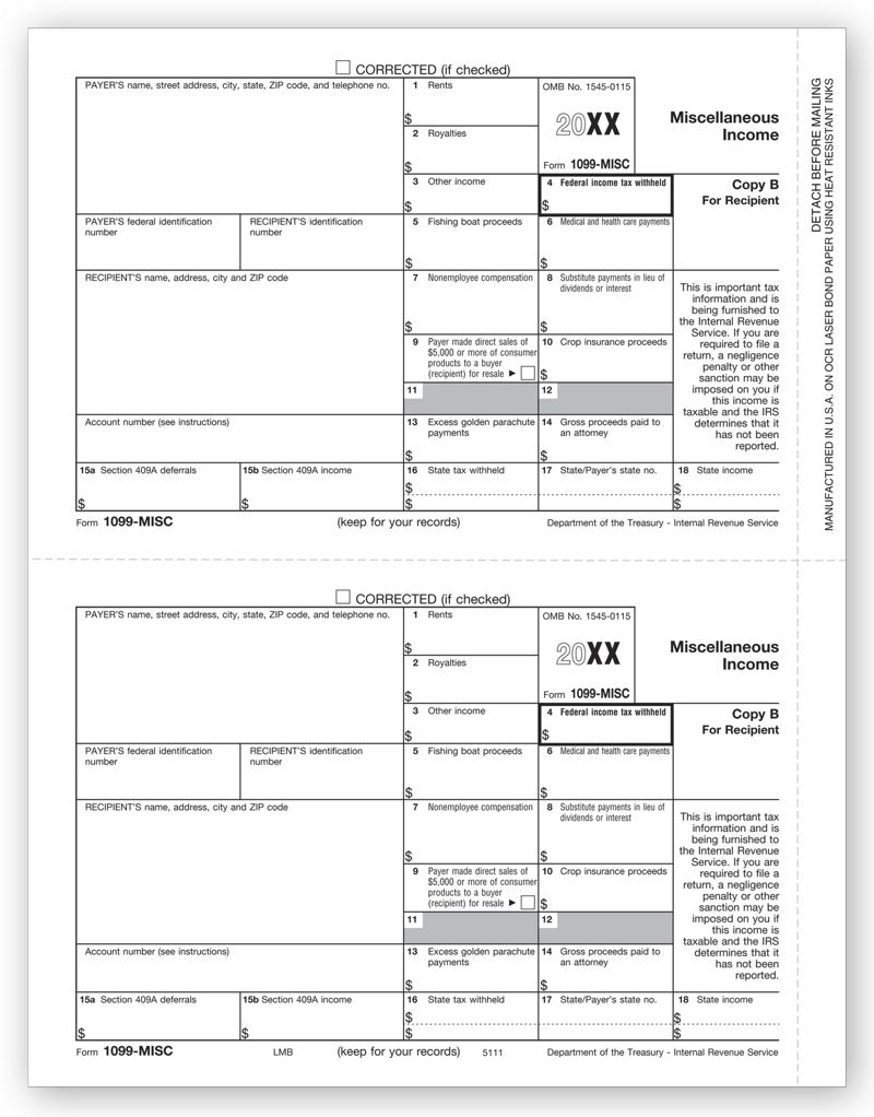 1099 form 2019  13 Laser 13-MISC Income Form, Copy B | TF13B | Deluxe