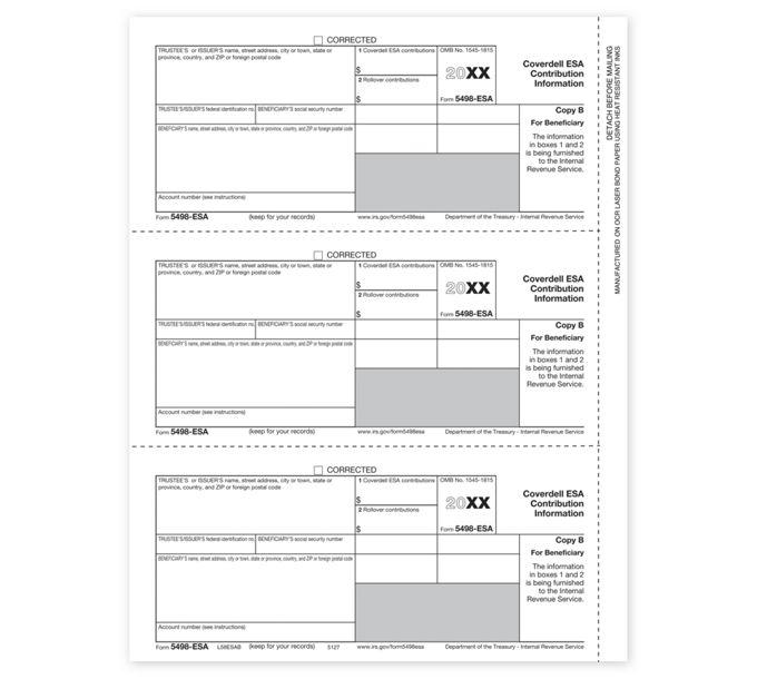 2021 Laser 5498-ESA, Beneficiary Copy BTF5127