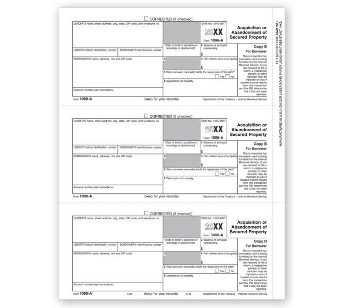 2021 Laser 1099-A, Borrower Copy BTF5147