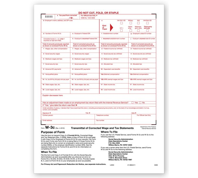 2021 Laser W-3C Transmittal of Corrected IncomeTF5309