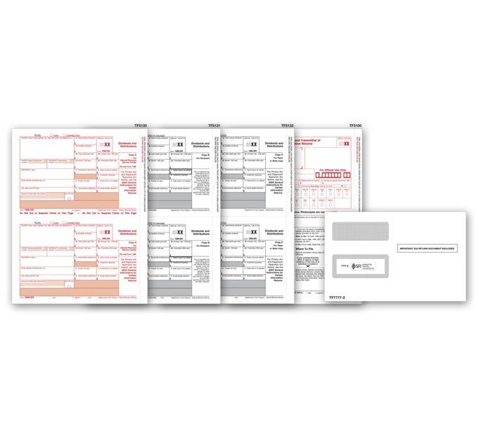 2021 Laser 1099-DIV Income Set & Envelope Kit, 4-partTF6107E