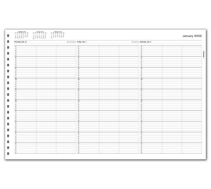 TimeScan 3 Col Looseleaf Book - 10 Min, 7am-5pmTIME44