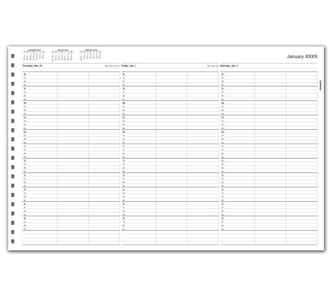 TIME56-TimeScan 3 Col Looseleaf Book - 15 Min, 8am-7pm w/extra hrTIME56