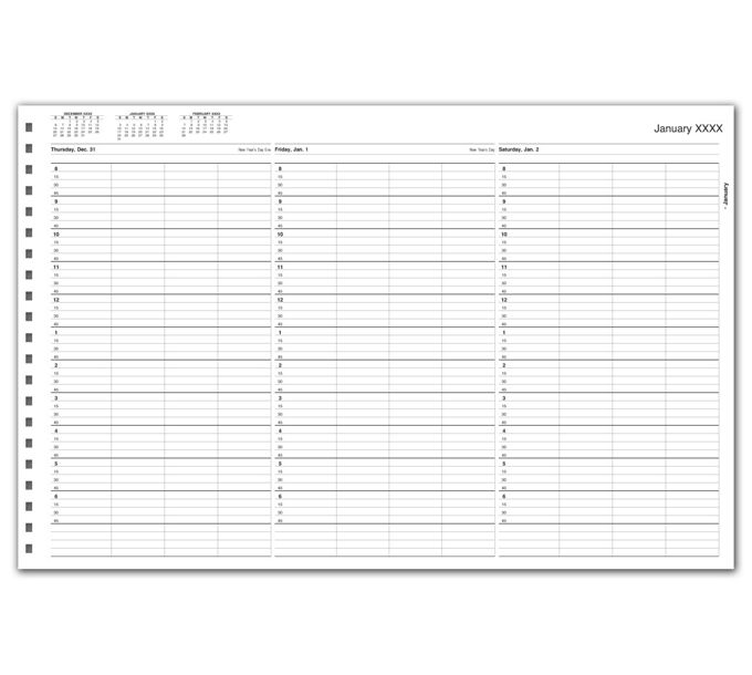 TIME68-TimeScan 4 Col Looseleaf Book - 15 Min, 8am-7pm w/extra hrTIME68
