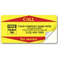 Call For Service Weather-Resistant Labels, Yellow