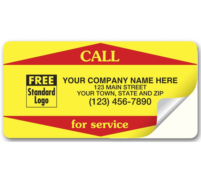WSV2-Call For Service Weather-Resistant Labels, YellowWSV2