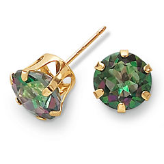 10K Gold Mystic Fire Topaz Stud Earrings