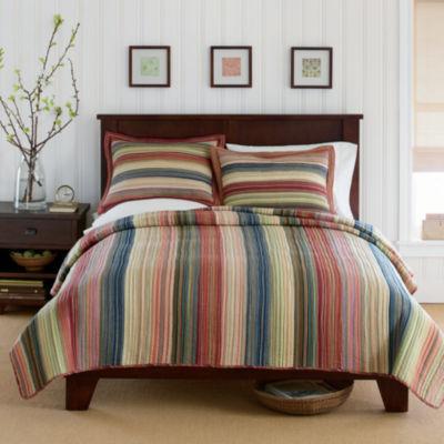 jewel retro chic cotton striped quilt u0026 accessories - Twin Quilts