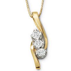 Sirena® ½ CT. T.W. Diamond 3-Stone Pendant Necklace
