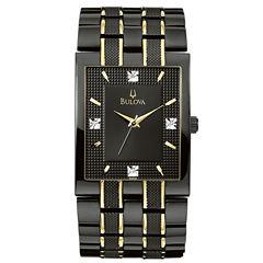 Bulova® Men's Black IP Diamond Accent Watch