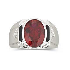 Men's Created Ruby & Onyx Ring