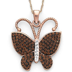 Rose 'N Chocolate Crystal Butterfly Pendant Necklace